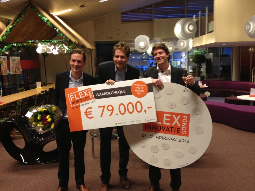 Magnet-me, vlnr: Freek Schouten, Vincent Karremans, Laurens van Nues, winnaars FlexInnovatieFonds 2013