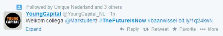 YoungCapital tweet: Welkom collega Mark Tuitert