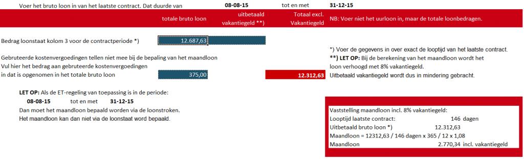 Transitievergoeding tool screenshot. Bron: NBBU en FlexKnowledge