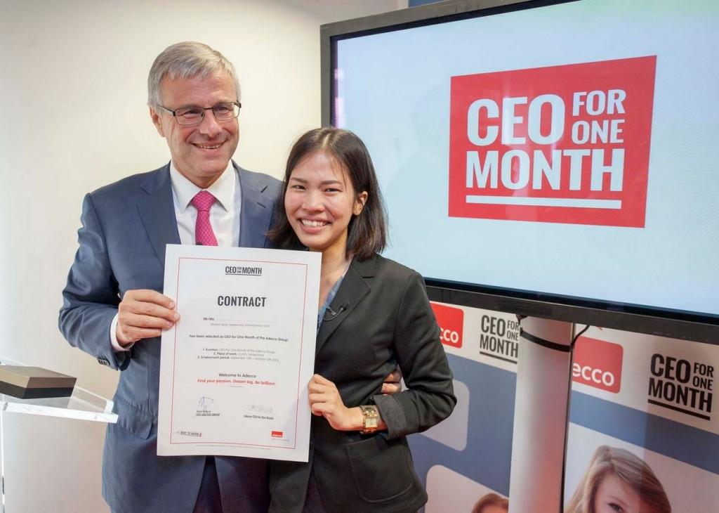Adecco CEO 1 maand 2015, Alain Dehaze en Ayumi Kunori