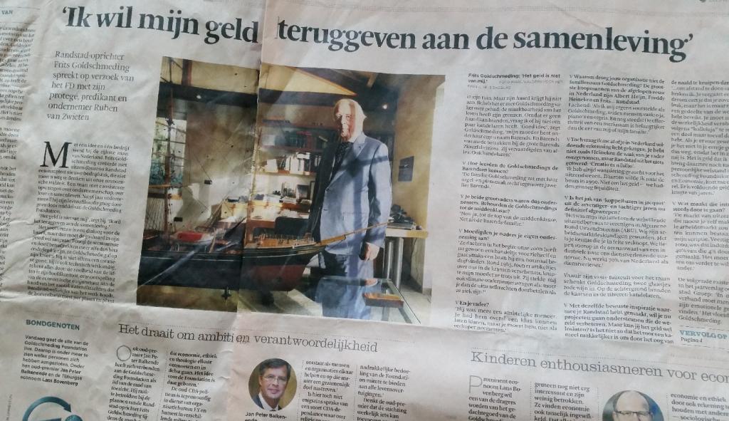 interview FD met Frits Goldschmeding, oprichter Randstad uitzendorganisatie