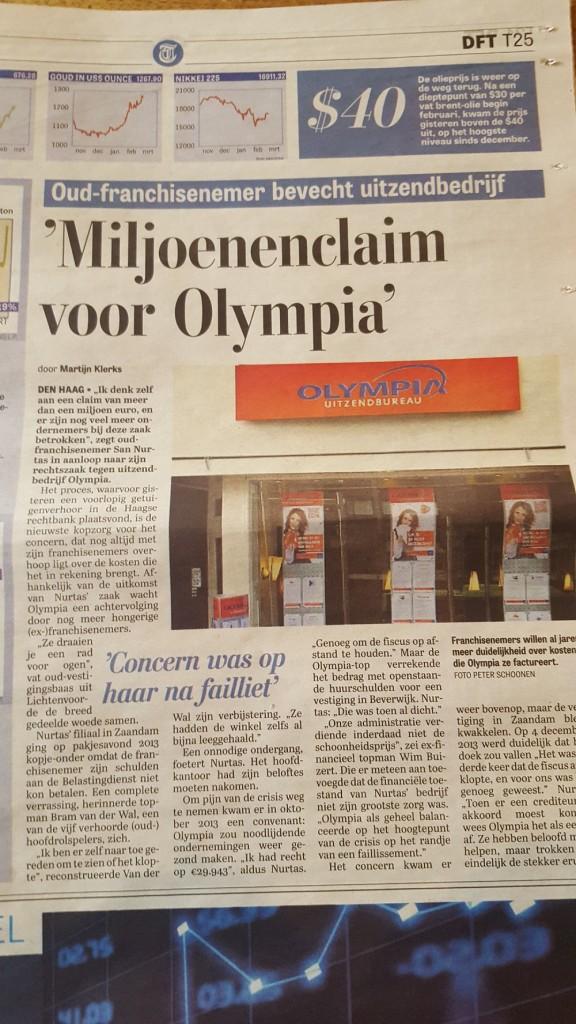 Telegraaf/DFT 8 maart 2016 Miljoenenclaim voor Olympia