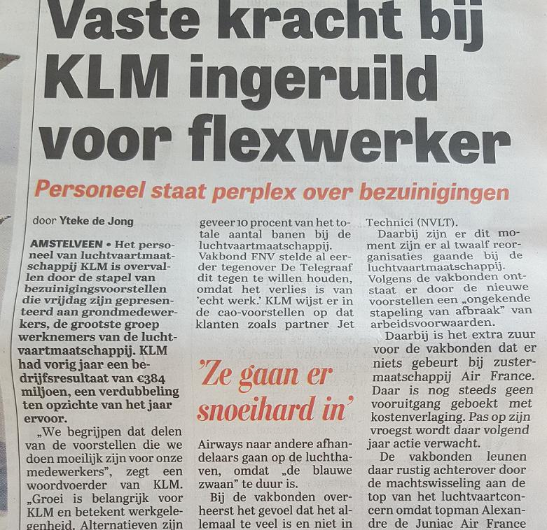 Telegraaf - 2 mei 2016 - KLM bezuinigt op grondpersoneel - lees meer