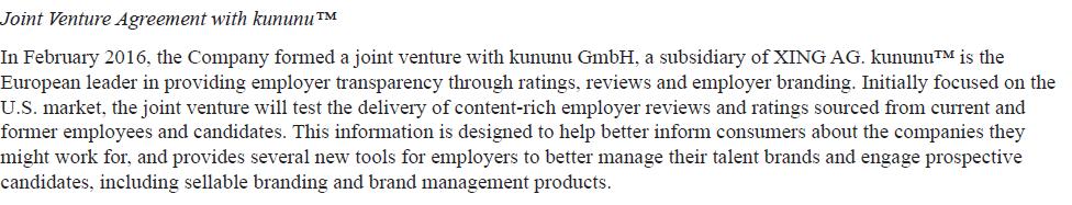 Monster Joint Venture Agreement with Kununu