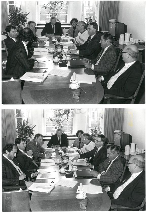 ABU en vakbonden overleg eerste CAO voor alle uitzendkrachten, 1987 (klik voor grotere afbeelding)