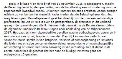 Fragment uit Kamerbrief Staatssecretaris Wiebes 25 november 2016, inzake handhaving Wet DBA