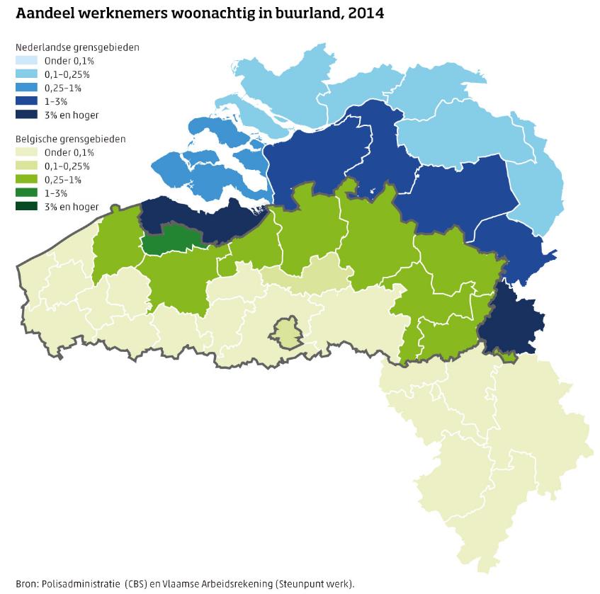 Aandeel werknemers woonachtig in grensgebied Nederland en Belgie 2014, bron CBS en Steunpunt werk