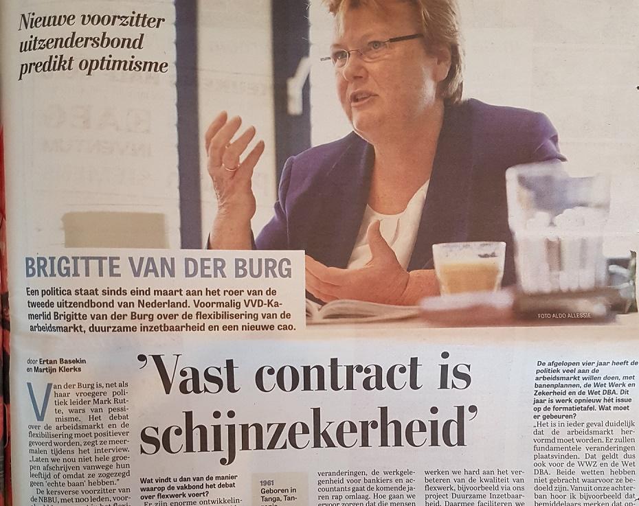 Brigitte van der Burg, voorzitter NBBU - interview Telegraaf 14-4-2017