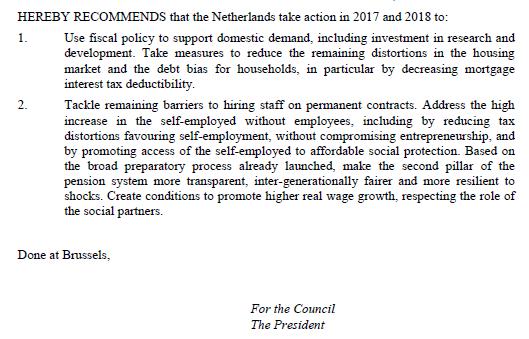 Conclusie van aanbeveling Europese Commissie aan Nederland, 22 mei 2017