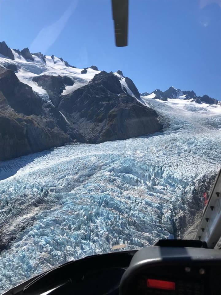 Franz Josef Glacier, blik vanuit helicopter
