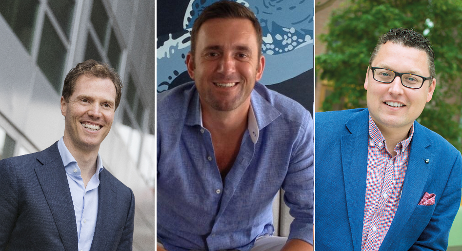 Vlnr: Dimitri Yocarini, Melvin de Boer, Jeroen Driessen, nieuwe bestuursleden ABU