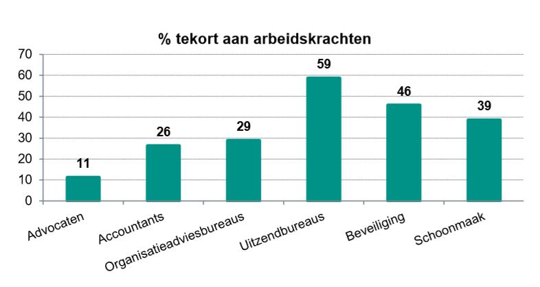 Tekort aan arbeidskrachten in zakelijke dienstverlening, bron ABN AMRO