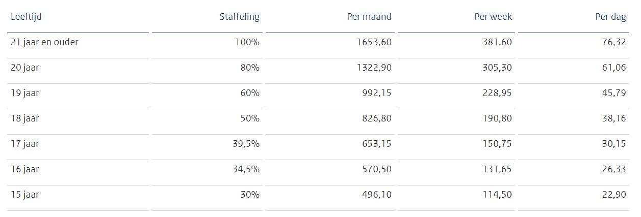 Minimumloonbedragen per 1 januari 2020, bron Staatscourant 2019, 56680