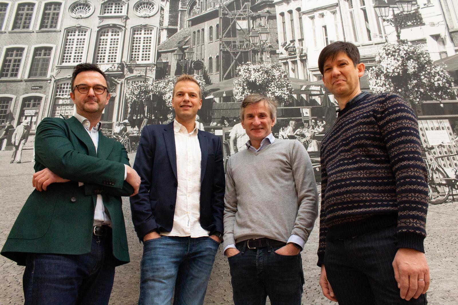 Jan Govaerts – Partner bij theMatchBox.be, Mark Willems – CEO Jellow België, Noel Wilson – CEO Jellow, Joeri Mesens – CTO bij theMatchBox.be