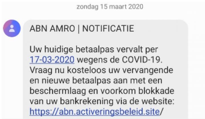 SMS - phishing voorbeeld