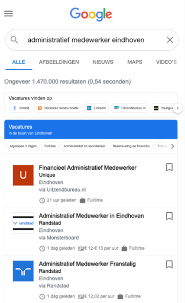 Google for Jobs, voorbeeld