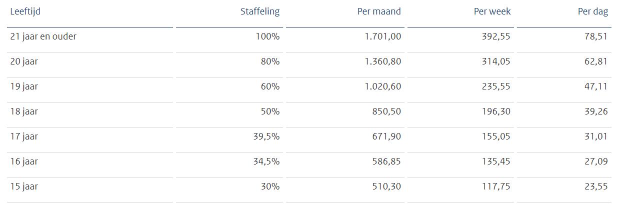 Bruto wettelijk minimumloonbedragen per 1 juli 2021