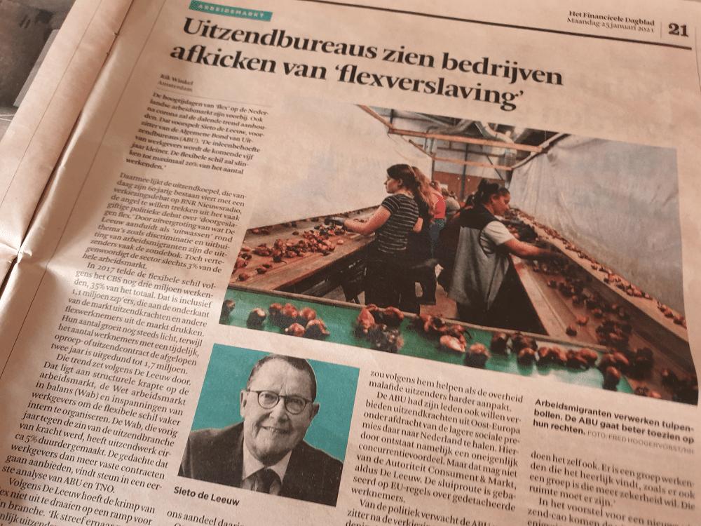 Sieto de Leeuw, voorzitter ABU, interview met FD, 25 januari 2021