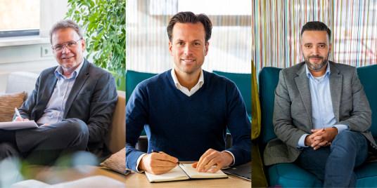 Please directie, foto vlnr: Hans van de Ven, Algemeen directeur, Mark Mollen, Financieel directeur, Jad Berad, Commercieel directeur
