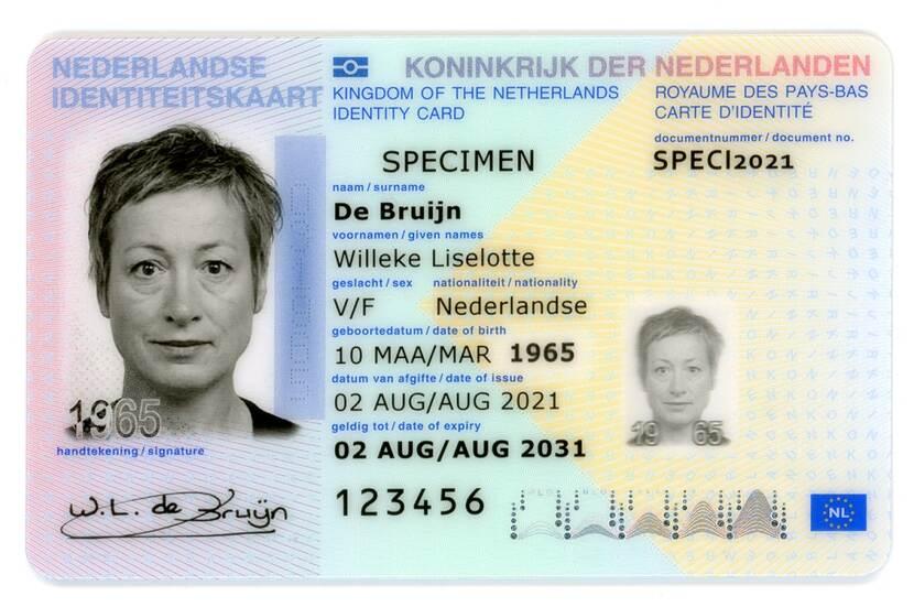Nieuw model Nederlandse identiteitskaart, bron Rijksoverheid